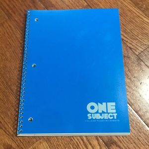🎁Blue One Subject college ruled 80 sheet notebook